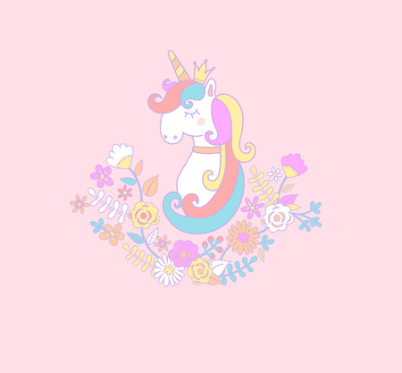 Sweet unicorn princess with flowers. Vector illustration for you design.