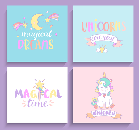 Set of magical unicorns cards with lettering. Vector illustration for print and greeting cards.
