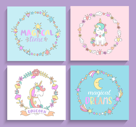 Set of magical unicorns cards with circle frames and lettering. Vector illustration for print and greeting cards, print.