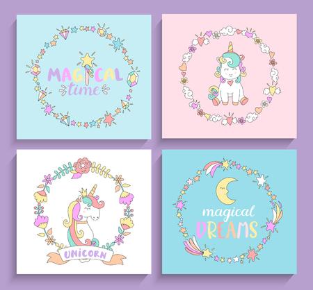 Verzameling van magische eenhoorns kaarten met cirkelframes en belettering. Vectorillustratie voor afdrukken en wenskaarten, afdrukken. Stock Illustratie