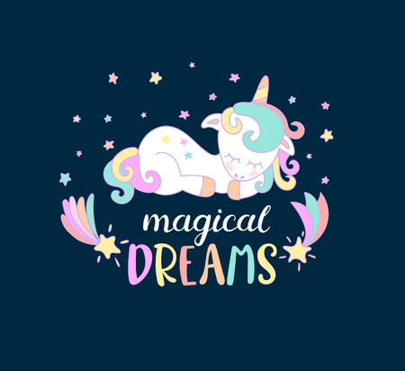 Magical dreams from unicorns with lettering. Vector illustration for you design, print. Illustration