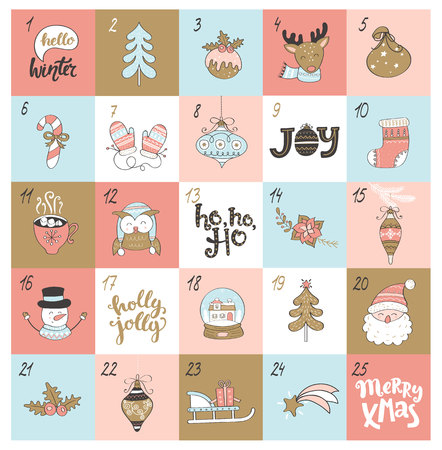 Christmas advent calendar with different christmas symbols. Vector illustration.