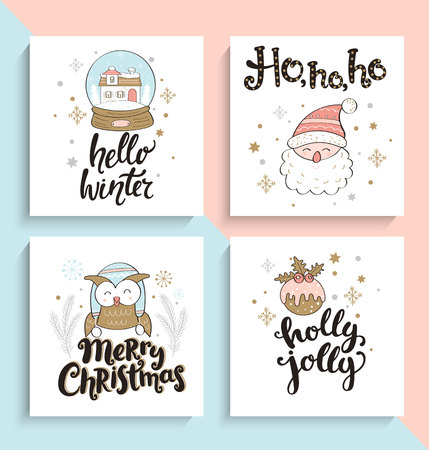 Set of christmas greeting cards. Vector illustration.