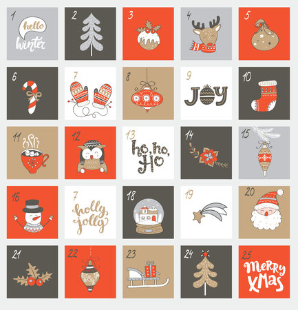 Christmas advent calendar with different christmas symbols for your design. Vector illustration.