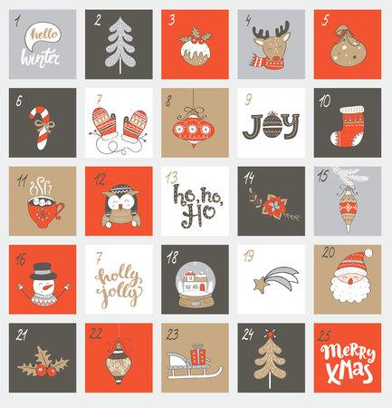Weihnachtseinweihungskalender mit verschiedenen Weihnachtssymbolen für Ihr Design. Vektor-Illustration. Vektorgrafik