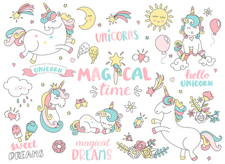 Set of unicorns and different magic elements with some lettering. Vector illustration. Vettoriali