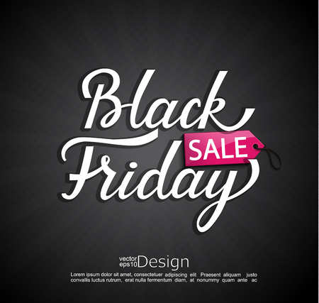 Black Friday banner with tag price for your design. Vector illustration.