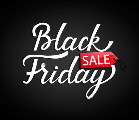 Black Friday banner with red tag price on black background for your design. Vector illustration. Illustration