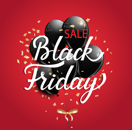 Black Friday Sale banner with black ballons and golden spangles on red background.