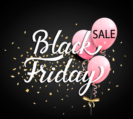 Black Friday Sale banner with pink ballons and golden spangles on black background. Vector illustration.