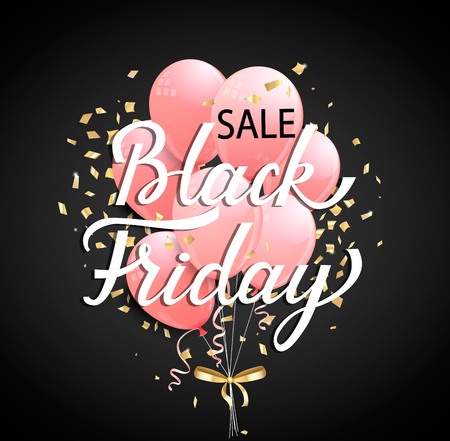 Black Friday Sale banner with pink ballons and golden spangles on black background for your design. Vector illustration.