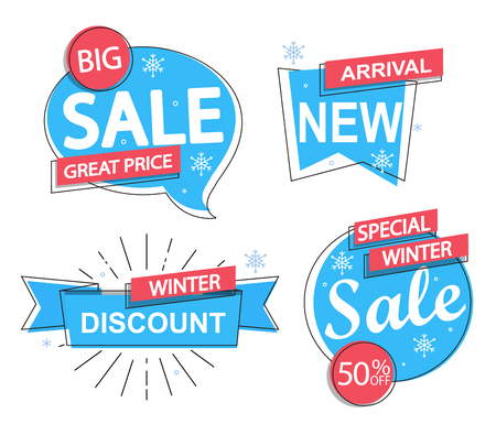 Set of trendy winter flat geometric vector bubbles. Vector illustrations of season online shopping website, mobile website banners, posters, and more. Çizim