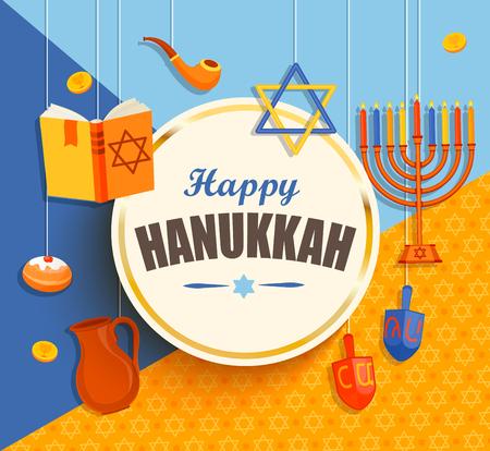 gelt: Happy hanukkah card with golden frame.