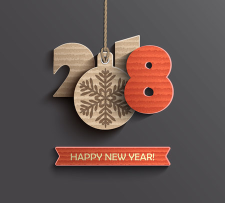 Creative happy new year 2018 design card in paper style. Vector illustration. Çizim