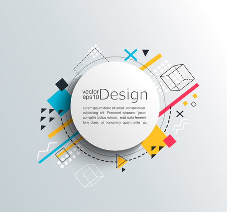 Circle frame with colorful geometric background. For your brochure, flyer, design. Vector illustration.