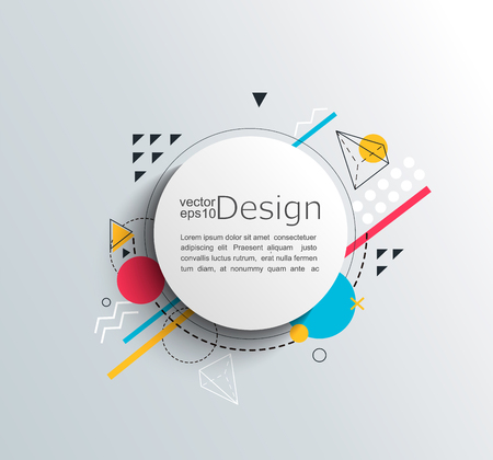 Circle frame with colorful geometric shapes. For your brochure, flyer, design. Vector illustration. Çizim