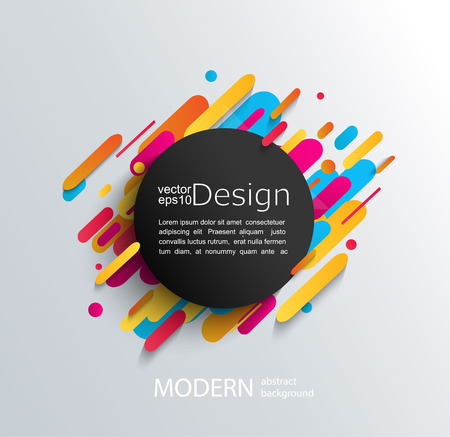 Circle frame with dynamic rounded shapes on modern and abstraction background. Vector illustration.