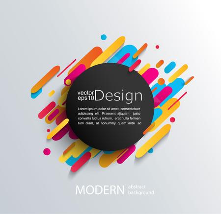 Marco de círculo con formas redondeadas dinámicas sobre fondo moderno y abstracción. Ilustración vectorial