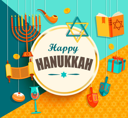 Hanukkah card with golden frame on geometric background with different hanukkah symbols. Vector illustration.