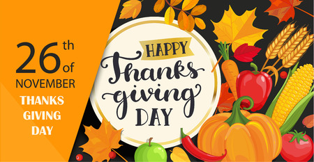 Happy Thanksgiving day card with lettering in gold circle frame on black background with fresh vegetables - pumpkin, carrots, peppers, tomatoes, corn and ears of wheat. Vector illustration. Çizim
