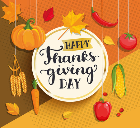 Happy Thanksgiving day card with lettering in gold circle frame on geometric background with fresh vegetables - pumpkin, carrots, peppers, tomatoes, corn and ears of wheat. Vector illustration. Çizim