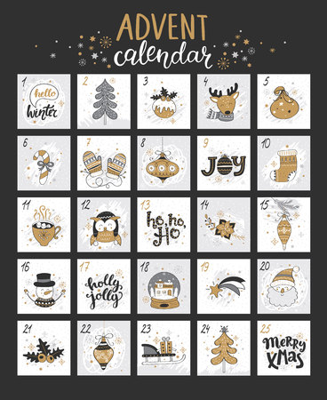 Happy Christmas advent calendar with different christmas symbols for your design. Vector illustration.