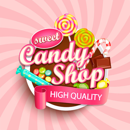 Candy shop signage design. Vectores