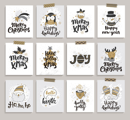 Set of new year and christmas cards. Vector illustration.
