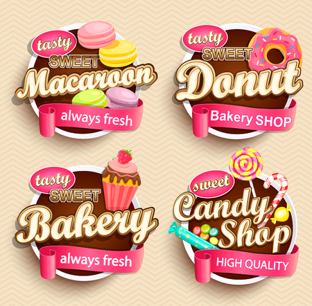 Set of Food Labels or Stickers - macaroon, donut, bakery, candy shop - Design Template. Vector illustration. Vettoriali