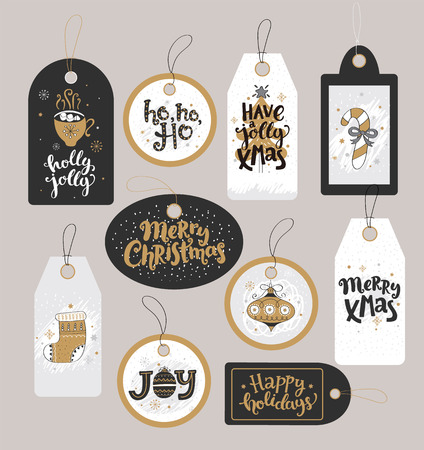 Set of Christmas holidays tags with hand drawn lettering. Vector illustration.