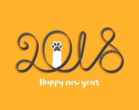 Card for Happy 2018 New Year with puppy paw. Vector Illustration. Stok Fotoğraf