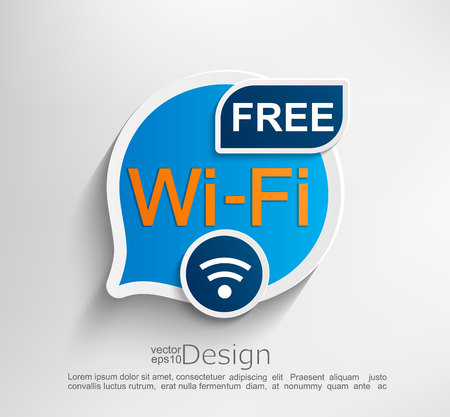 Free wifi symbol, emblem or sticker vector illustration. Foto de archivo