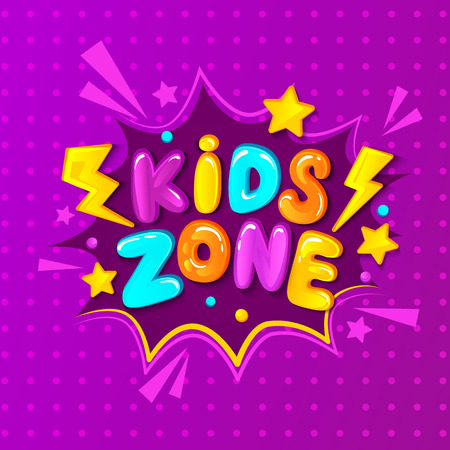 Kids zone banner, embleem of logo in cartoon stijl. Plaats voor de lol en speel. Vector illustratie.