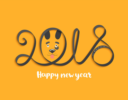 Card for Happy 2018 New Year with dog face. Vector Illustration.