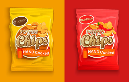Set of two packaging with chips, classic and with paprika. Illustration