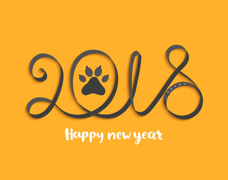 Greeting card for Happy 2018 New Year with dog paw.