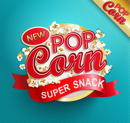 Popcorn label, symbol or sign. Vector illustration of super snack for your design.