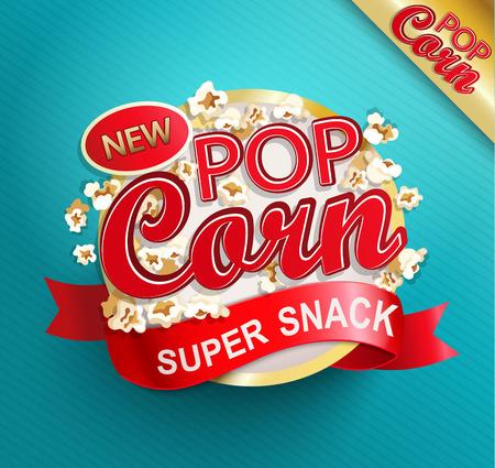 Popcorn label, symbol or sign. Vector illustration of super snack for your design.