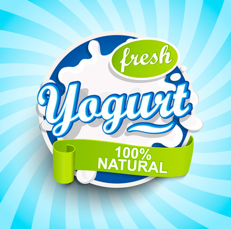 Fresh and Natural Yogurt label splash with ribbon on blue sunburst background for logo, template, label, emblem for groceries, agriculture stores, packaging and advertising.. Vector illustration. Ilustrace