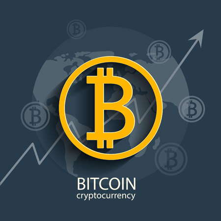 Symbol or sign of Bitcoin. Vector illustration of cryptocurrency for using in different web and other projects and mobile applications.