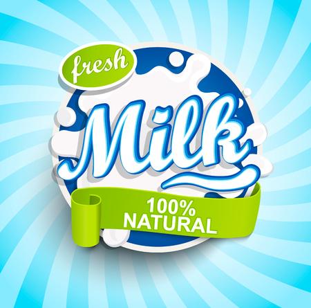 Fresh and Natural Milk label splash with ribbon on blue sunburst background for logo, template, label, badge, emblem for groceries, agriculture stores, packaging and advertising.. Vector illustration.