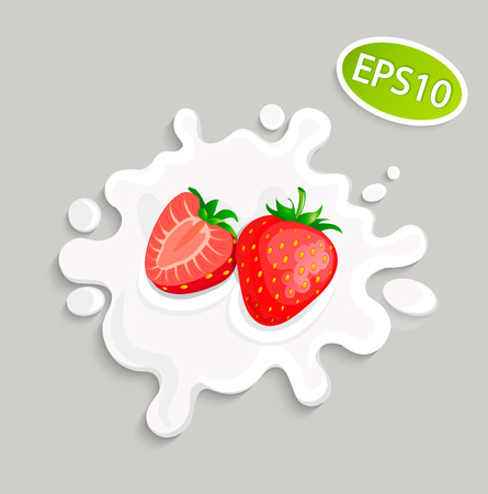 Milk splashing with strawberry for logo, template, label, emblem for groceries, stores, packaging and advertising. Vector illustration.