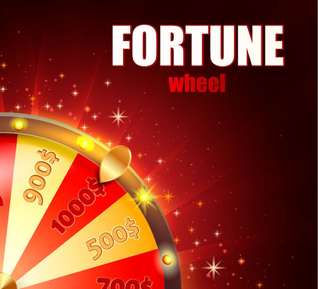 Symbol of spinning fortune wheel in realistic style. Shiny lucky roulette for your design on red glowing background with place for your text. Vector illustration. Vettoriali