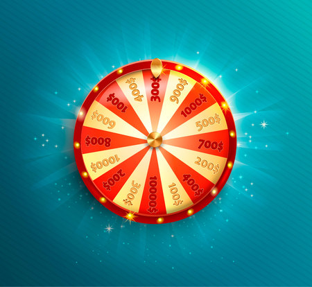 Symbol of spinning fortune wheel in realistic style. Shiny lucky roulette for your design on blue glowing background. Vector illustration.  イラスト・ベクター素材