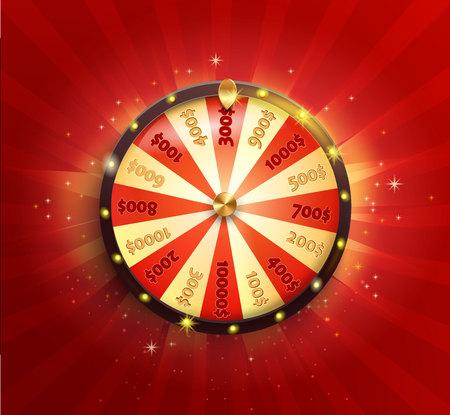 リアルなスタイルでフォーチュンホイールを回転させるシンボル。赤く輝くサンバーストの背景にあなたのデザインのための光沢のあるラッキール  イラスト・ベクター素材