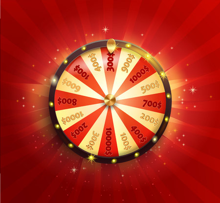 Symbol of spinning fortune wheel in realistic style. Shiny lucky roulette for your design on red glowing sunburst background. Vector illustration. Vettoriali