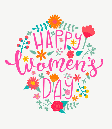 Happy Womens day card with handdrawn lettering on floral frame. Vector Illustration for your design. Çizim
