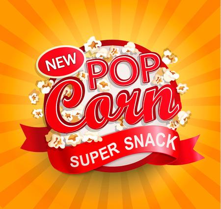 Popcorn label, symbol or sign on sunburst background. Vector illustration of super snack for your design.