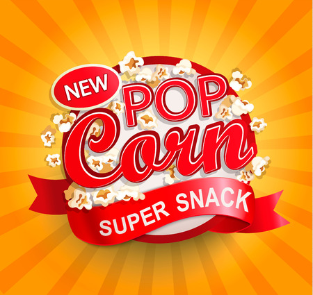 Popcorn label, symbol or sign on sunburst background. Vector illustration of super snack for your design.