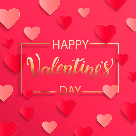 Card for happy Valentines day with lettering in gold square frame, poster template. Pink abstract background with hearts ornaments. February 14. Vectores